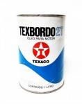Lata de óleo p/ motor a gasolina, marca Texaco, Texbordo 2 T, conteúdo 1 litro, lacrada, (déc. 90), marcas do tempo.