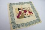 Antigo Lenço de Sêda Japonês - Erótico. Apresenta pequenos desfiados. Ideal para ser emoldurado para sua total preservação.