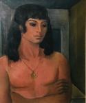 Noemia Mourão, quadro reproduzido em catálogo, pintura de alta qualidade e em excelente estado. Atrás carimbo de inventário da artista. Ost 65 x 56 cm.