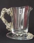 Jarra de cristal com prato, design italiano espessurado a prata assinado Brunni - 19 x 20 cm