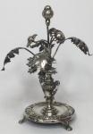 Paliteiro de prata portuguesa marca P coroa - 18,5 cm