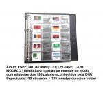 Album de Couro Ecológico com 20 Folhas + Etiquetas Do mundo com os países reconhecido pela ONU.