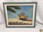 Quadro com óleo sobre tela retratando um barco de pesca, assinado Sandro Jose com moldura em madeira. Medindo a moldura 60,5cm x 50cm e a tela 49cm x 39cm.