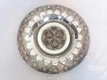 Prato  para pendurar decorativo Art Nouveau em prata 90, bordas ricamente decoradas . medida 23 cm de d iametro
