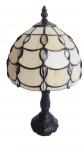 Abajour com base em metal e cúpula em mosaico de pasta de vidro com aplicações de pedras translúcidas no melhor estilo tiffany. Medida 37cm de altura.