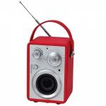 Rádio AM/FM com speacker, rádio revestido de couro ecológico em belo tom vermelho. Sem uso e na caixa original.