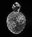 Compoteira de vidro prensado em forma de abacaxi. Medida 16 cm de altura.