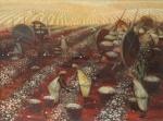 Bianco (Enrico Bianco, Roma 1918) - Magnífica representação de Colheita do Algodão, OSE 45 x 60 cm. Assinado e datado no CID, 1988. Necessita ínfimo restauro em pequenos fragmentos perdidos na pintura.