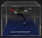 Modelo de metal em escala 1/160 - Avião P40N Warhawk, belíssimo, excepcional qualidade. 6,5 cm