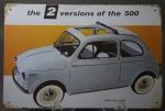 Memorabilia - Placa de metal com reprodução de antiga publicidade do FIAT 500 Sun Roof. Excelente acabamento e detalhes envelhecidos. 20 x 30 cm.