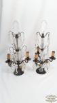 Par de abajour de 3 velas  Com Pingentes De Cristal Anos 40. Medidas: 55 Altura x 25,5 comprimento x 25 Largura