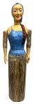 OFICINA DE AGOSTO - Antiga escultura de chão em madeira pintada, representando Mulher, assinado e numerada, medindo: 1,63 m alt. (desmontável)