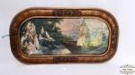 Quadro com Moldura em Madeira e Vidro  gravura cenas sacras ..Medidas: 54 cm Largura x 34 cm Altura.