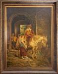 """NICOLAUS BLATKOWSKI - Escola Russa - Século XIX - """"A Corte"""" Óleo sobre tela assinado no CID e medindo 105 x 80cm Importante Artista Russo"""