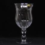 HOME GALLERY - Belíssimo Vaso Floreira em fino cristal polonês translúcido com bojo gomado e coluna central torneada e base circular. Med: 46cm de altura e 23cm de diametro do bojo