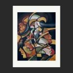 """ALBERY -Litografia Cubista """"Abstrato"""" Datado 98. Dimensões: 70 cm x 55 cm. Albery Seixas da Cunha (Belém PA 1944 - Rio de Janeiro RJ 2003). Pintor e gravador. Estuda desenho e gravura na Escola Nacional de Belas Artes (Enba), no Rio de Janeiro. Em 1967, realiza sua primeira mostra individual na Galeria L'Atelier. Entre os anos de 1970 e 1977, mora em Paris, onde desenvolve trabalhos artísticos e dedica-se ao estudo da língua francesa. Na década de 1980, divide seu tempo entre as cidades do Rio de Janeiro e Nova York. Executa um mural, juntamente com seis estudantes de arquitetura, na Rua São José, no Rio de Janeiro, em 1982; pinta um painel para o Museu da Cidade de Belém, no Pará, em 1989. Retratista, realiza retratos de várias celebridades entre elas: Princesa Caroline de Mônaco, Elizabeth Taylor, Catherine Deneuve e a Duquesa de Windsor."""