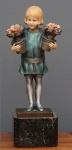 RICH W LANGE - Escultura em bronze policromado e marfim com base em mármore representando vendedora de flores. Altura total 25 cm. Esta escultura foi fotografada e possivelmente fara parte do Livro Statuettes of the Art Deco Period do Autor Alberto Shayo.