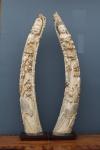 China Séc XIX, Par de excepcionais  esculturas esculpidas em presa unica em marfim representando imperador e imperatriz com 1 metro de altura. Assinadas.
