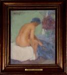 AUGUSTO J. MARQUES JR - Nu, óleo sobre tela assinado, medindo 27,5 x 23 cm, medidas sem moldura.