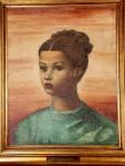 EMILIANO DI CAVALCANTI - Figura, óleo sobre tela medindo 51 x 40 cm, medidas sem moldura, Decada de 40-50. Com inscrição no verso, assinada e datada 1-7-73 pelo próprio artista.