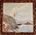 JOAO THIMOTEO DA COSTA - Baia da Guanabara, óleo sobre tela assinado e datado 1919, medindo 61 x 61 cm, medidas sem moldura.Apresenta selo da Pinacoteca do Estado de Sao Paulo.