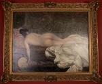OSCAR PEREIRA DA SILVA - Tributo a Rodolfo Amoedo, óleo sobre tela assinado e datado 1887, com a inscrição  Copia de R Amoedo, medindo 73 x 92 cm, medidas sem moldura.Reproduz a pintura original de Rodolfo Amoedo do famoso quadroEstudo de mulher, 1884, óleo sobre tela, 150,5 x 200,0 cm, que se encontra no Museu Nacional de Belas Artes, Rio de Janeiro.ESTA OBRA ESTA REPRODUZIDA A PAGINA 155, DO LIVRO OSCAR PEREIRA DA SILVA , DE RUTH SPRUNG TARASANTSHI, SÃO PAULO  EDIÇÃO DE 2006.