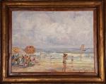 Manoel Santiago, Praia óleo sobre tela assinado, medindo 46 x 61 cm, medidas sem moldura.