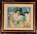 JOHN GRAZ - Intitulado Tres Pássaros, Bando de Aves- Tuiuiu, guache e ecoline sobre papel em chapa, assinado, medindo 21 x 23 cm, medidas sem moldura.