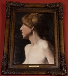RODOLFO AMOEDO - Figura, óleo sobre tela assinado e localizado Paris, medindo 40 x 30 cm, sem moldura.