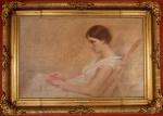 DECIO VILLARES - Leitora em contemplação, óleo sobre tela assinado, medindo 58 x 91 cm, medidas sem moldura.