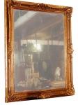 Belo espelho  com moldura antiga decorada.  med.: 95 x 75 cm
