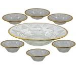 Antigo Jogo em Cristal Década 60 - Lapidação Geométrica Borda em Filete Ouro Composto por Saladeira Medindo 7 X 28 Cm. (Diâmetro) e 6 (Seis) Bowls Medindo 4,5 X 13 Cm. (Diâmetro)