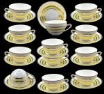 12 (Doze) Xícaras Chá com Pires em Porcelana CONDESSA - Blumenau na Cor Branca com Faixas Amarelas e Filetes Ouro.