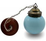 Lustre Bola em Opalina na Cor Azul com Suporte em Metal Bronze e Canopla em Madeira. Medida: 18 Cm. (Diâmetro Globo).