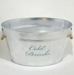 Balde para Gelo Cold Drink em Metal Galvanizado Dinasty - Pegas Laterais - Medida: 28 X 52 X 38 Cm.