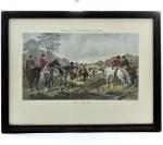 "Gravura - JOHN FREDERICK HERRING's FOX HUNTING (1795-1865) - ""The Meet"" - nº 1 - Moldura em Madeira Lisa e Vidro - Medida : 42 x 55 cm."