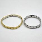 2 (duas) Pulseiras Elásticas em Aço Inox Dourado e Prateado. Modelo Pastilha Unisex. medida: 9,5 x 8 cm.