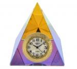 Relógio Quartzo Mesa Encrustado em Cristal Boreal - Lapidação Pirâmide - Medida : 6 x 5 cm.