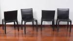 Mário Bellini, Conjunto com 4 cadeiras CAB, com selo da Probjeto, forração em couro no estado medindo altura espaldar 80 cm. Exemplar similar reproduzida na página 444  no livro 1000 Chairs de Charlotte e Peter Fiell, Taschen Editora.