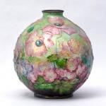 CAMILLE FAURÉ  - Vaso floral esmaltado assinado e localizado Limóges, altura 20 cm.