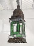 Lanterna em metal, com vidros incolor e verde . Med. 72x21 cm.