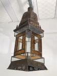 Lanterna em metal, com vidros incolor e amarelo . Med. 72x21 cm.