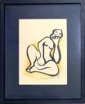 Emiliano DI CAVALCANTI (1897-1976) - espetacular obra representando nú feminino, tecnica mista s/ papel, ESTUDO