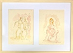 Auguste RODIN (Attrib.) (1840-1917) - Díptico, erótico, desenho s/ papel, medindo: 35 cm x 26 cm cada. e 70 cm x 52 cm total.