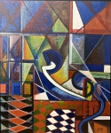 Benjamin SILVA (1927 - 2019) - óleo s/ tela, medindo: 1,24 m x 1,04 m