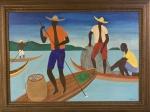 Djanira MOTTA E SILVA (1914-1979) - óleo s/ tela, medindo: 99 cm x 69 cm e 1,20 m x 89 cm (precisa restauro)