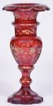 Vaso Vneziano , cor rubi decorado altura 21 cm.
