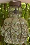 Par de Luminarais em vidro transparente soprado e ferro forjado, altura 41 cm diametro ...
