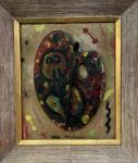 Joan Miró - Téc. mista, óleo, paleta de pintura. Assinado e localizado na parte inferior. Obra med. 37x32cm. Vendido na categoria Atribuído.