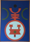 """Rubem Valentim - 1986 - """"Emblema"""". A.S.T. Assinado, intitulado, localizado e datado no verso. Obra med. 70x50cm. Acervo Particular - São Paulo"""
